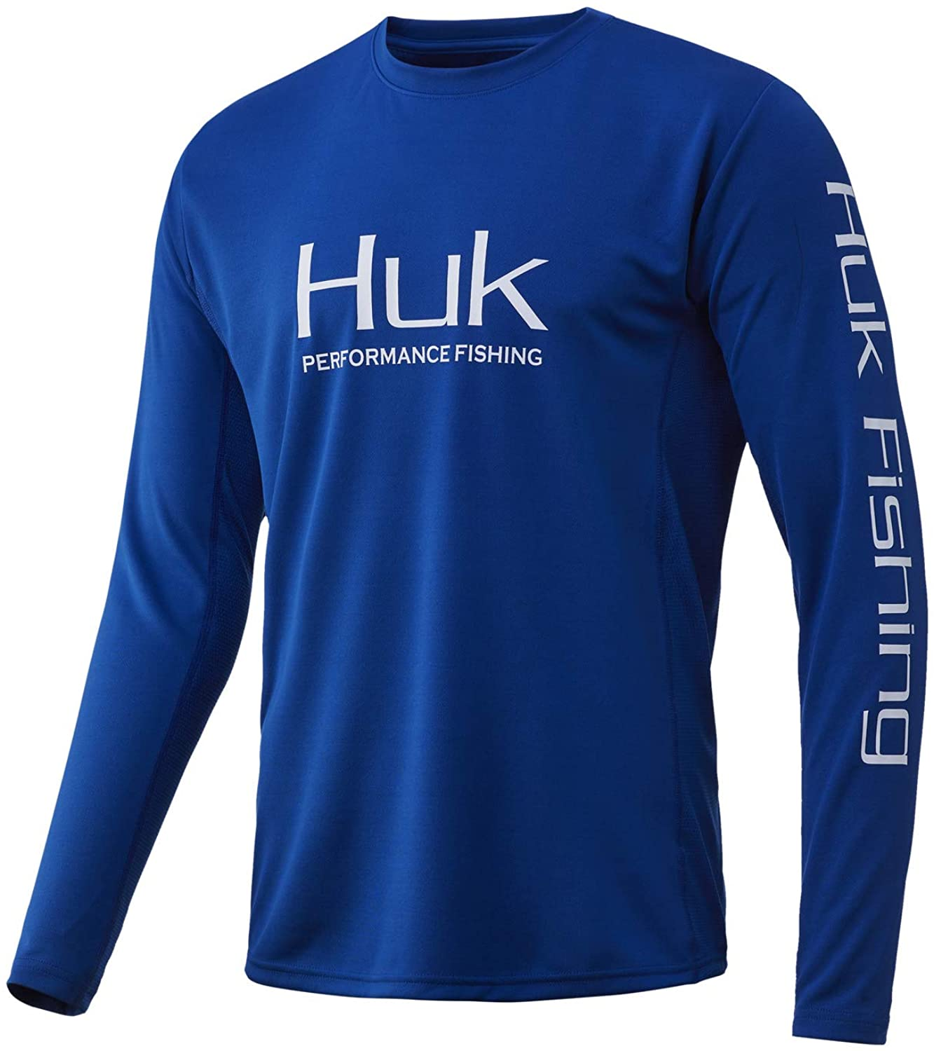 Men's Huk Icon X Long Sleeve Shirt in Huk Blue from the front