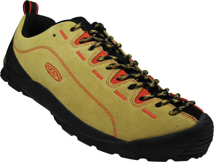 Men's KEEN Jasper Suede Leather Sneaker in Ochre/Safety Orange from the front