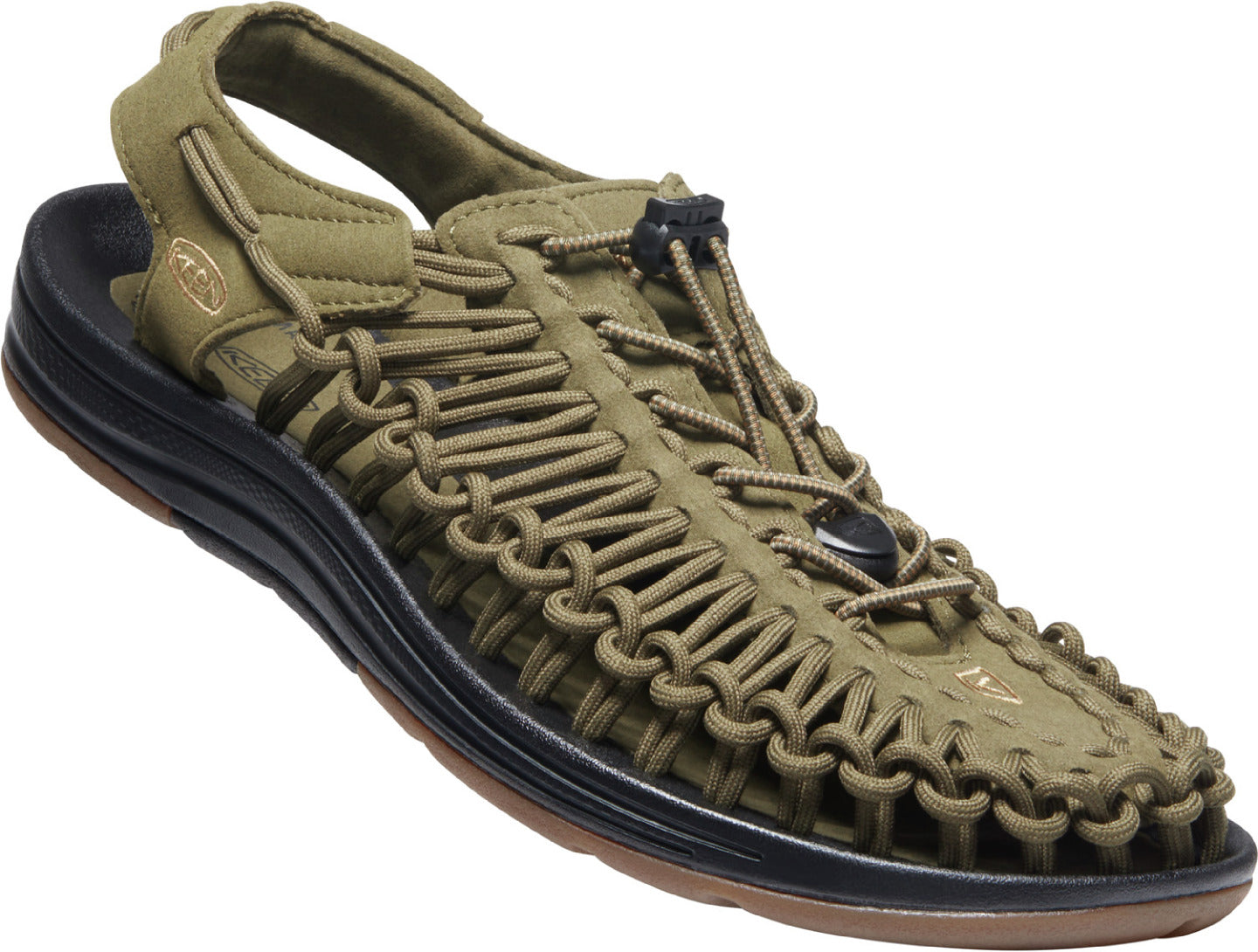 Men's KEEN Uneek Classic Two Cord Sandal in DARK OLIVE/BROWN SUGAR color from the front