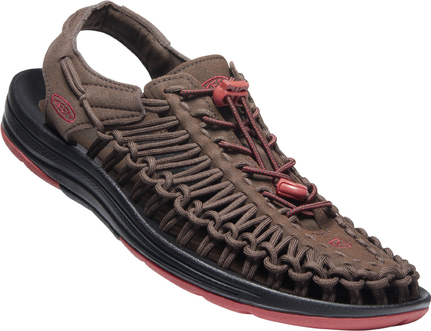 Men's KEEN Uneek Classic Two Cord Sandal in DEMITASSE/KETCHUP color from the front