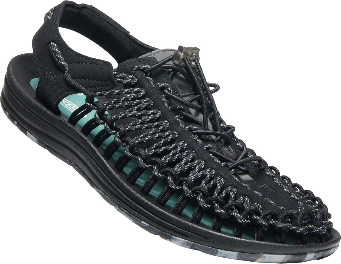 Men's KEEN Uneek Classic Two Cord Sandal in GLR BLACK color from the front