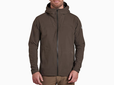 Men's Kuhl Stretch Voyagr Rain Jacket in Dark Olive from the front view