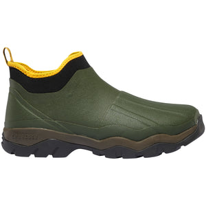 "LaCrosse Men's Alpha Muddy 4.5"" 3.0mm Waterproof Outdoor Boot in Green from the side"