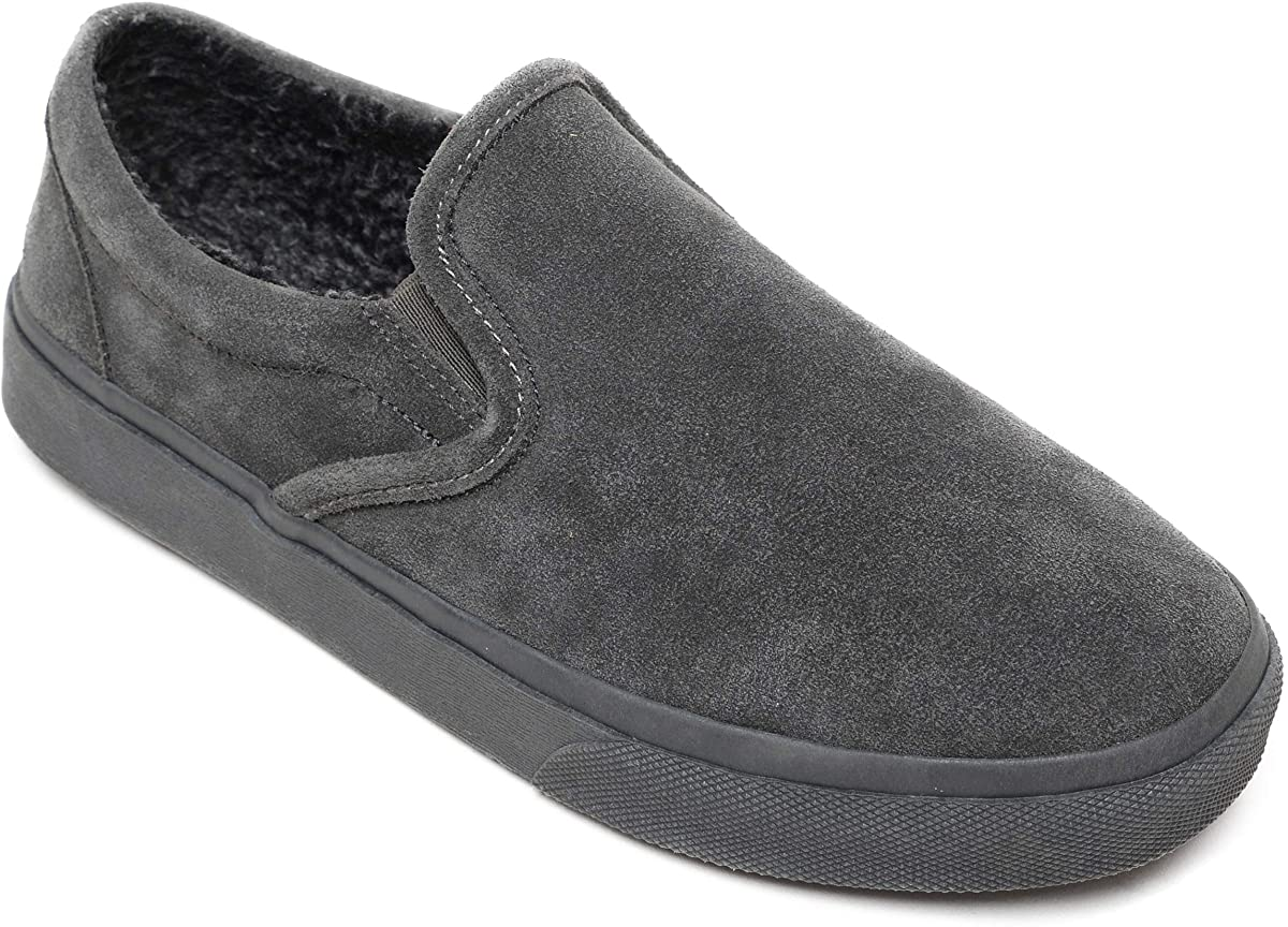 Men's Minnetonka Alden Cushioned Slipper in Charcoal from the side view