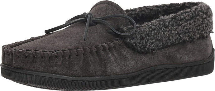 Men's Minnetonka Allen Slipper in Charcoal from the front view
