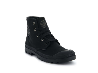 Men's Palladium Pampa Hi Canvas Boot in Black/Black from the front view
