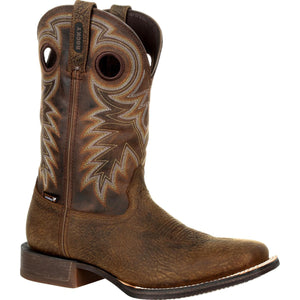 Men's Rocky Dakota Ridge Waterproof Pull-On Western Boot in Saddle Brown and Chocolate from the front