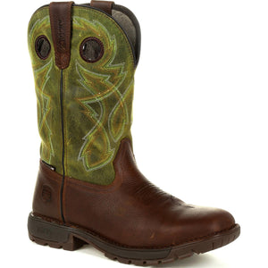 Men's Rocky Legacy 32 Waterproof Western Boot in Brown and Green from the front