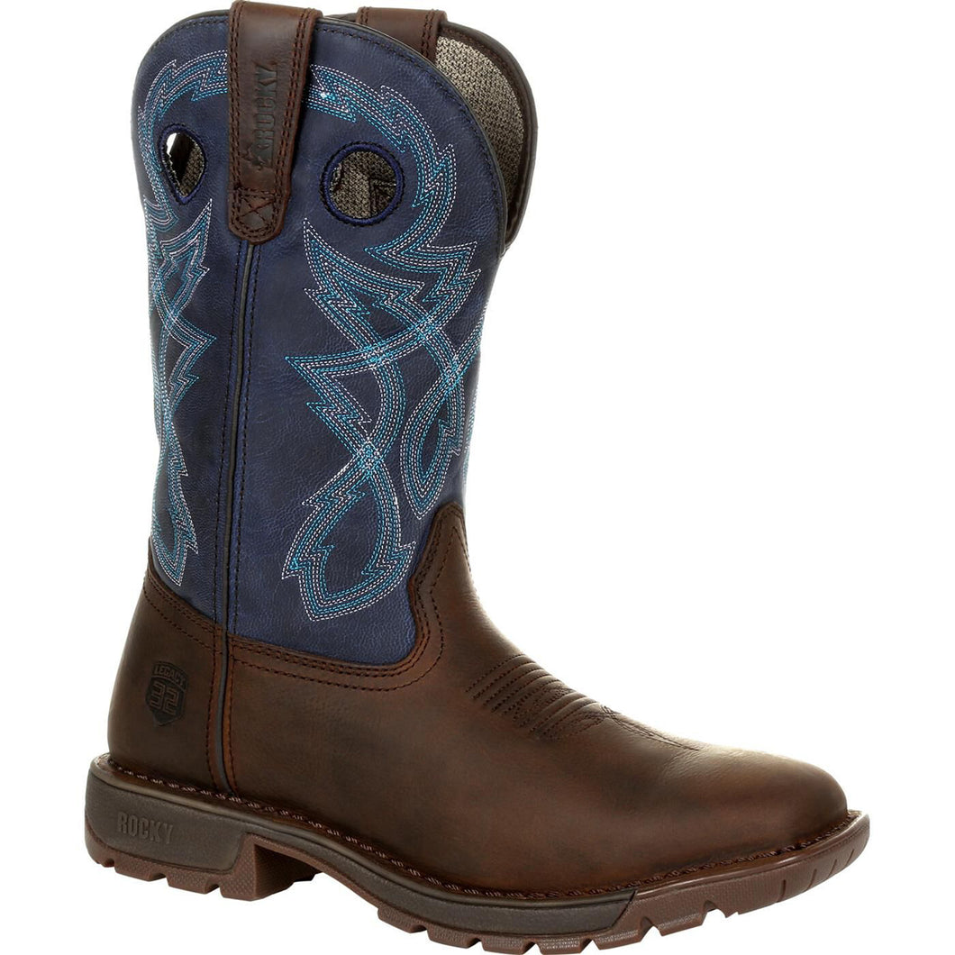 Men's Rocky Legacy 32 Western Boot in Dark Brown and Blue from the front