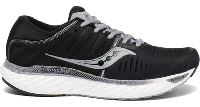 Saucony Men's Hurricane 22 Running Shoe in Black/White from the side