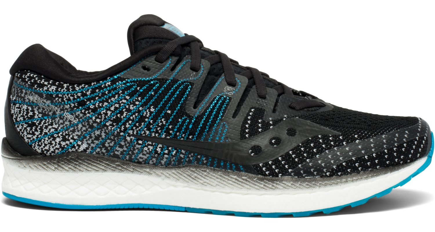 Saucony Men's Liberty Iso 2 Running Shoe in Black/Blue from the side