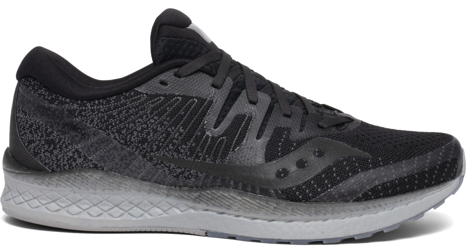 Saucony Men's Liberty Iso 2 Running Shoe in Blackout from the side
