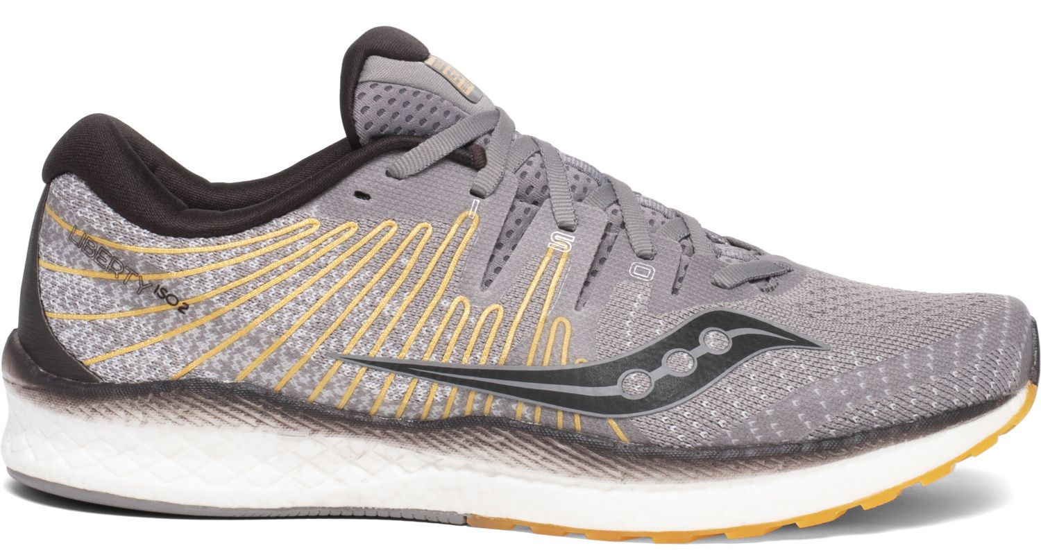 Saucony Men's Liberty Iso 2 Running Shoe in Grey/Yellow from the side