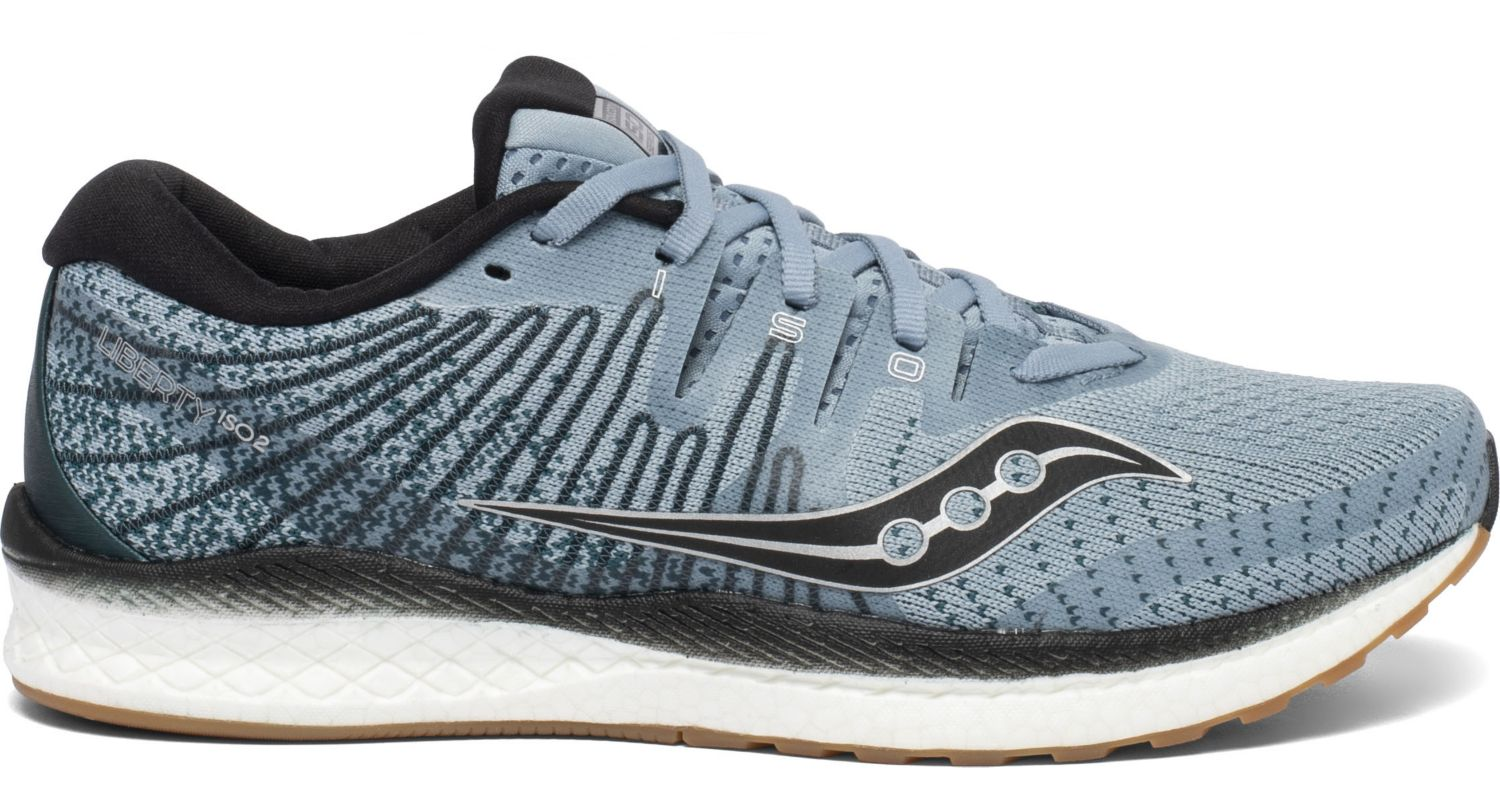 Saucony Men's Liberty Iso 2 Running Shoe in Indigo/Black from the side