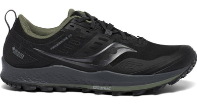 Men's Saucony Peregrine 10 GTX Trail Running Shoe Black/Pine