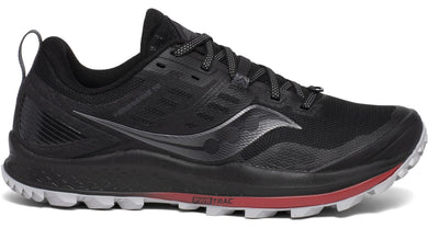 Saucony Men's Peregrine 10 Trail Running Shoe in Black/Red from the side