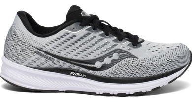 Saucony Men's Ride 13 Running Shoe in Alloy/Black from the side