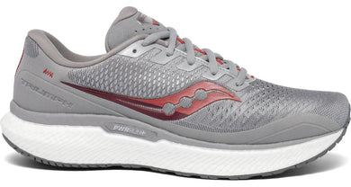 Saucony Men's Triumph 18 Running Shoe in Alloy/Red from the side