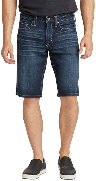 Men's Silver Jeans Zac Relaxed Fit Jean Short in Medium Indigo Wash from the front