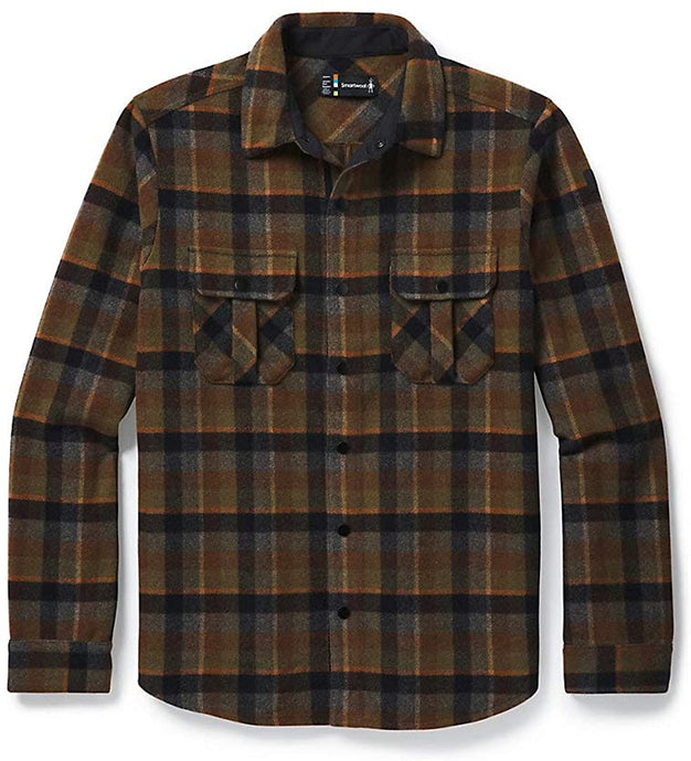 Men's Smartwool Anchor Line Shirt Jacket in Olive Plaid color from the front view