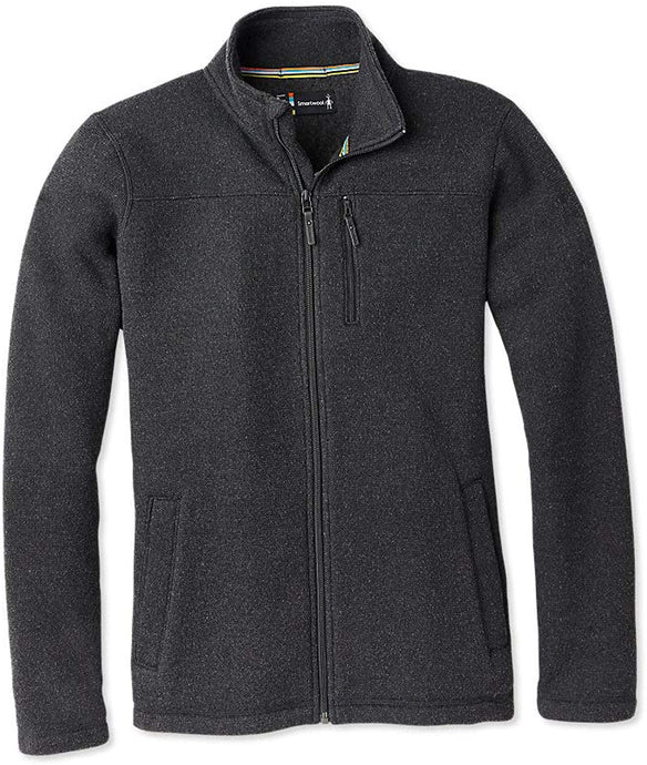 Men's Smartwool Hudson Trail Fleece Full Zip Jacket in Dark Charcoal from the front
