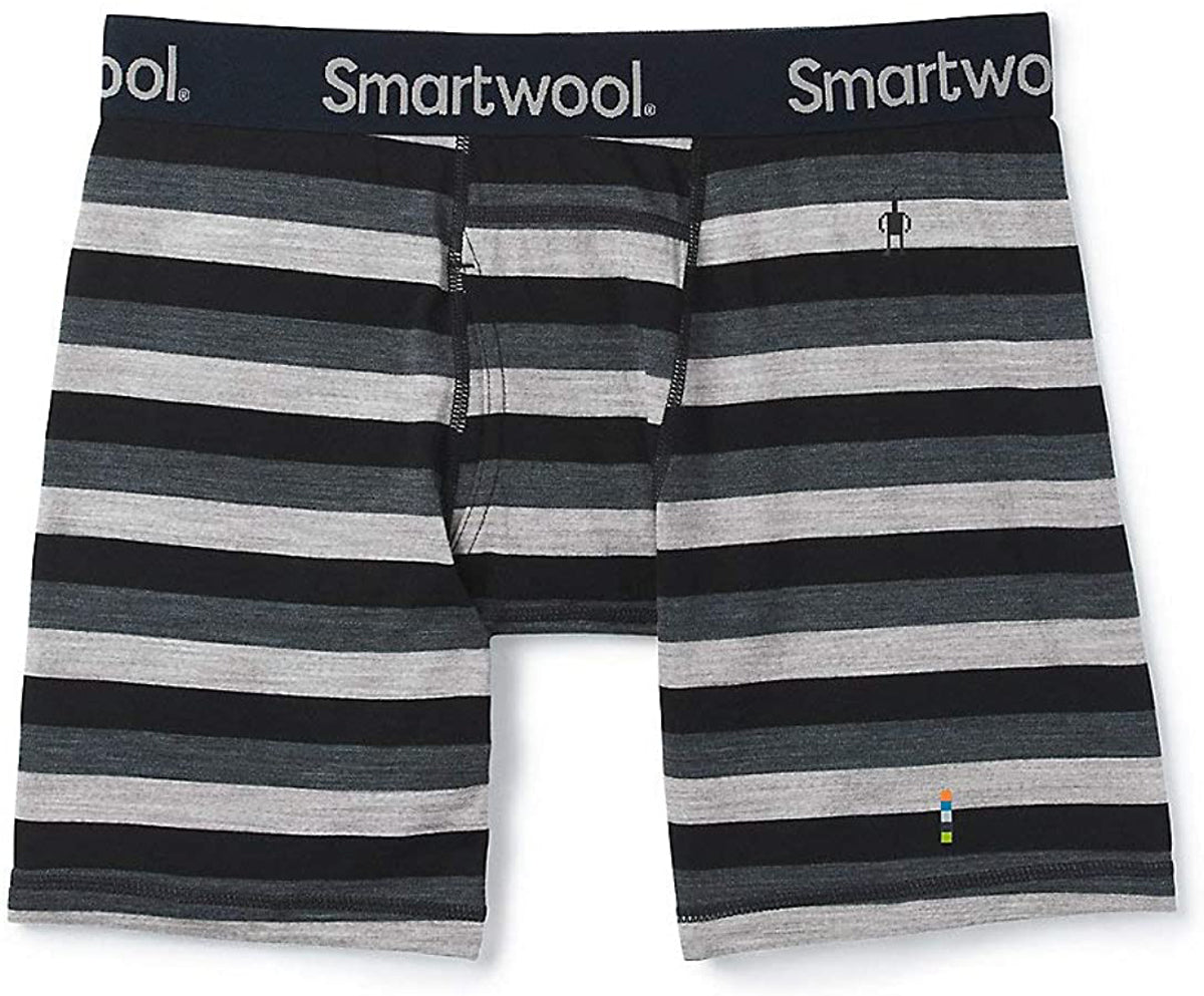 Men's Smartwool Merino 150 Boxer Brief in Iron Stripe from the side view
