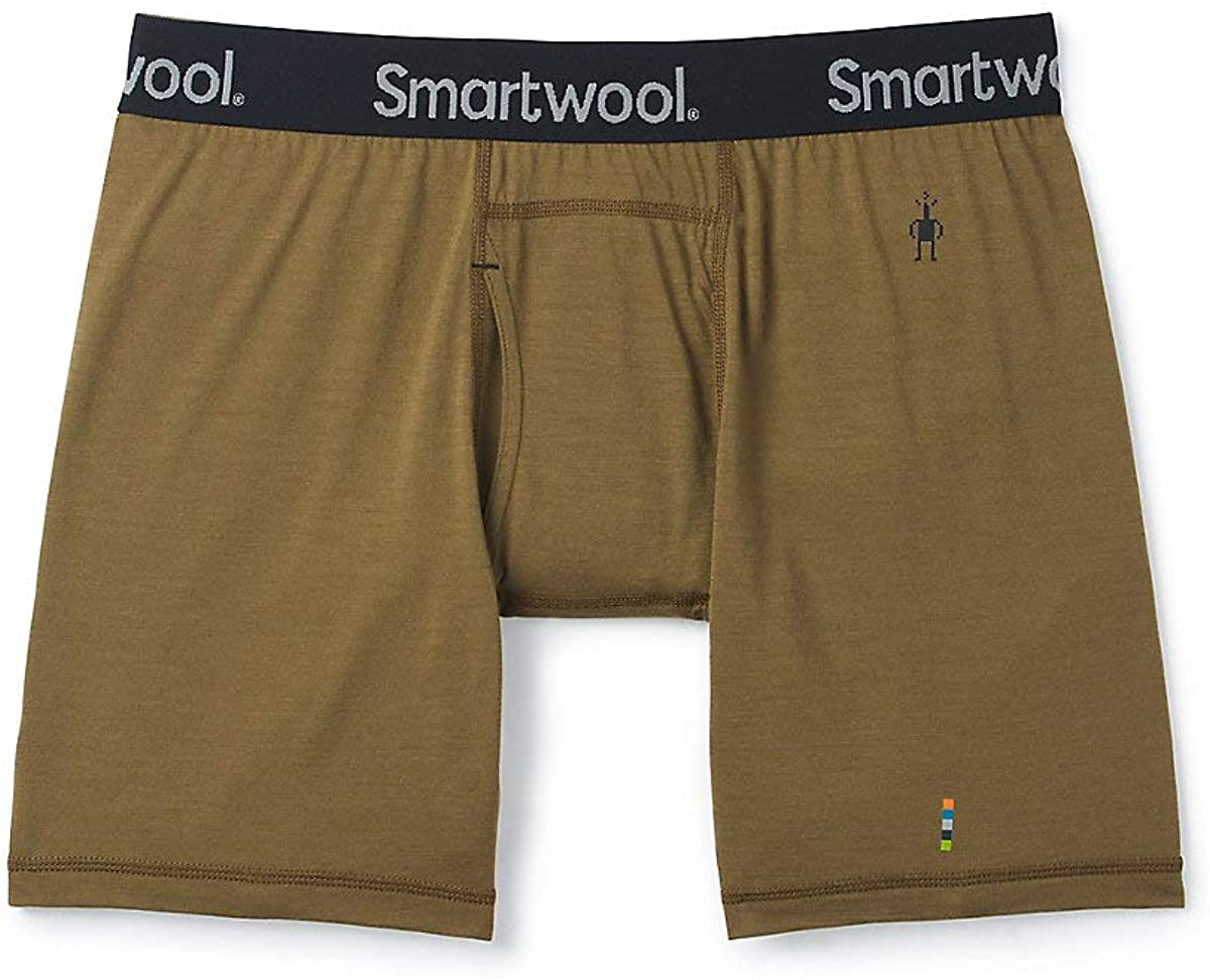Men's Smartwool Merino 150 Boxer Brief in Military Olive from the side view