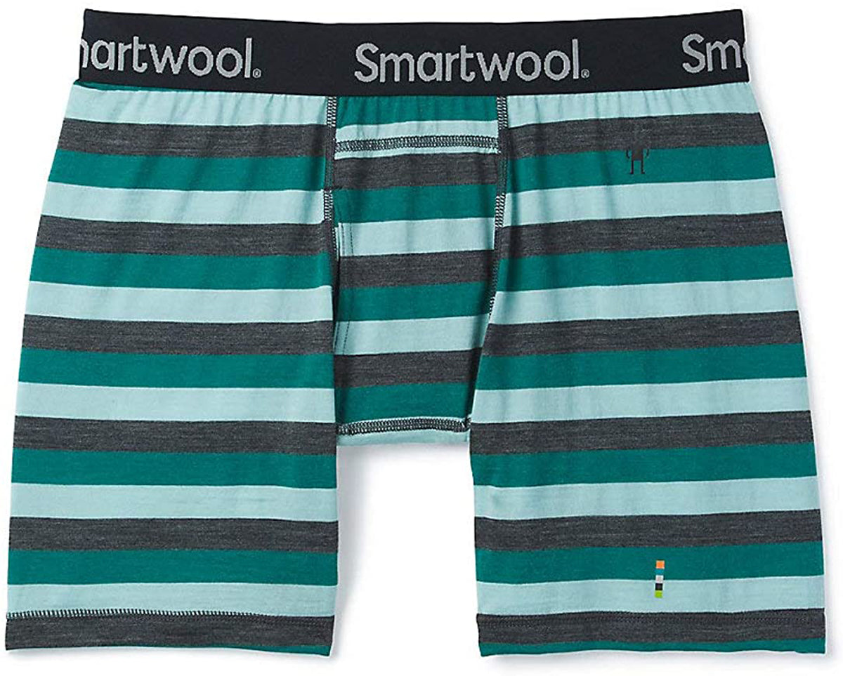 Men's Smartwool Merino 150 Boxer Brief in Pacific Stripe from the side view