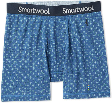 Men's Smartwool Merino 150 Print Boxer Brief in Alpine Blue Tick Stitch Print