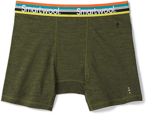 Men's Smartwool Merino Sport 150 Boxer Brief Boxed Moss Green Heather in front view