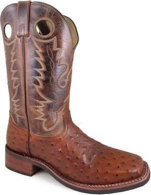 Men's Smoky Mountain Danville Pull On Stitched Textured Square Toe Boot in Cognac/Brown Crackle