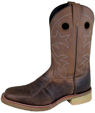 Men's Smoky Mountain Landon Pull On Stitched Square Toe Crackle Boot in Brown Oil Distress/Brown