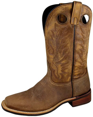 Men's Smoky Mountain Timber Pull On Closure Stitched Design Square Toe Boot in Brown Distress