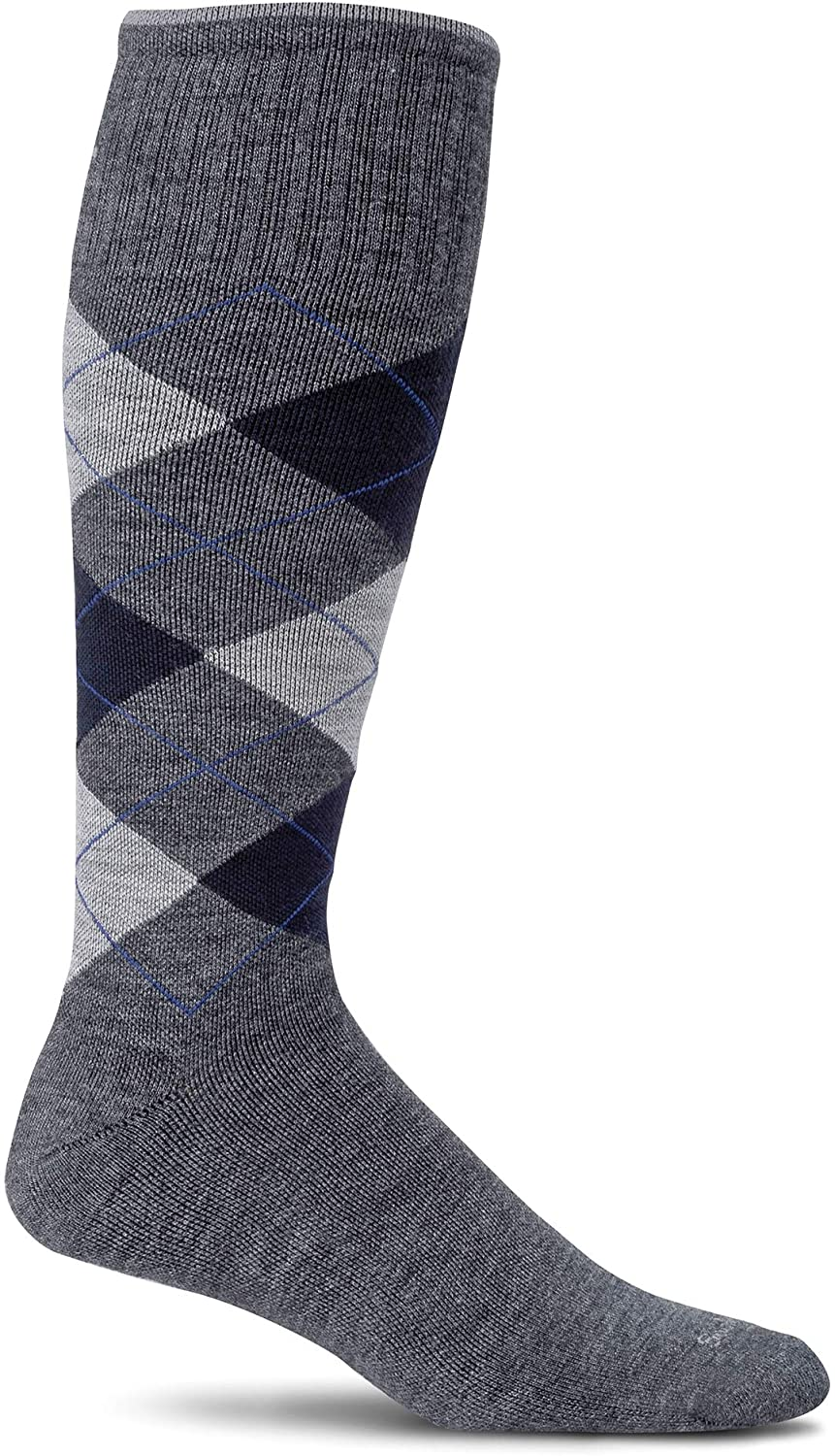 Sockwell Men's Argyle Circulator Moderate Graduated Compression Sock in Charcoal from the side