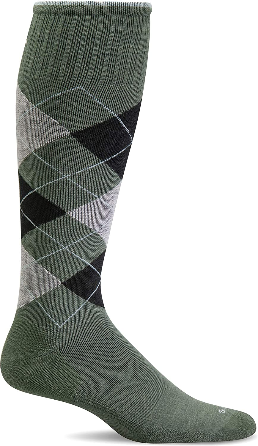 Sockwell Men's Argyle Circulator Moderate Graduated Compression Sock in Eucalyptus from the side