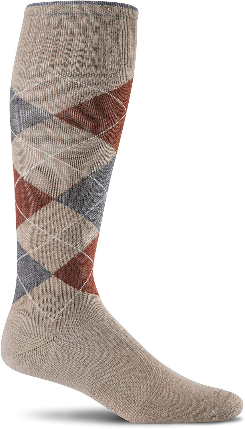 Sockwell Men's Argyle Circulator Moderate Graduated Compression Sock in Khaki from the side