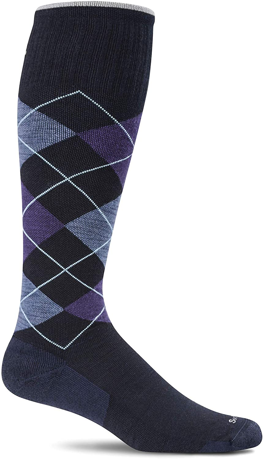 Sockwell Men's Argyle Circulator Moderate Graduated Compression Sock in Navy from the side