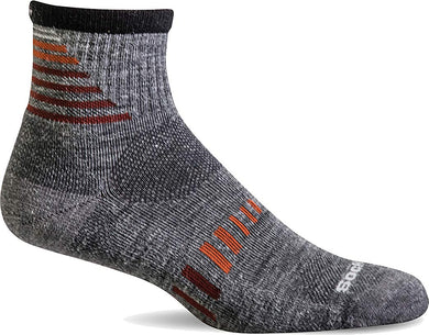 Sockwell Men's Ascend II Quarter Moderate Compression Construction Sock in Grey from the side