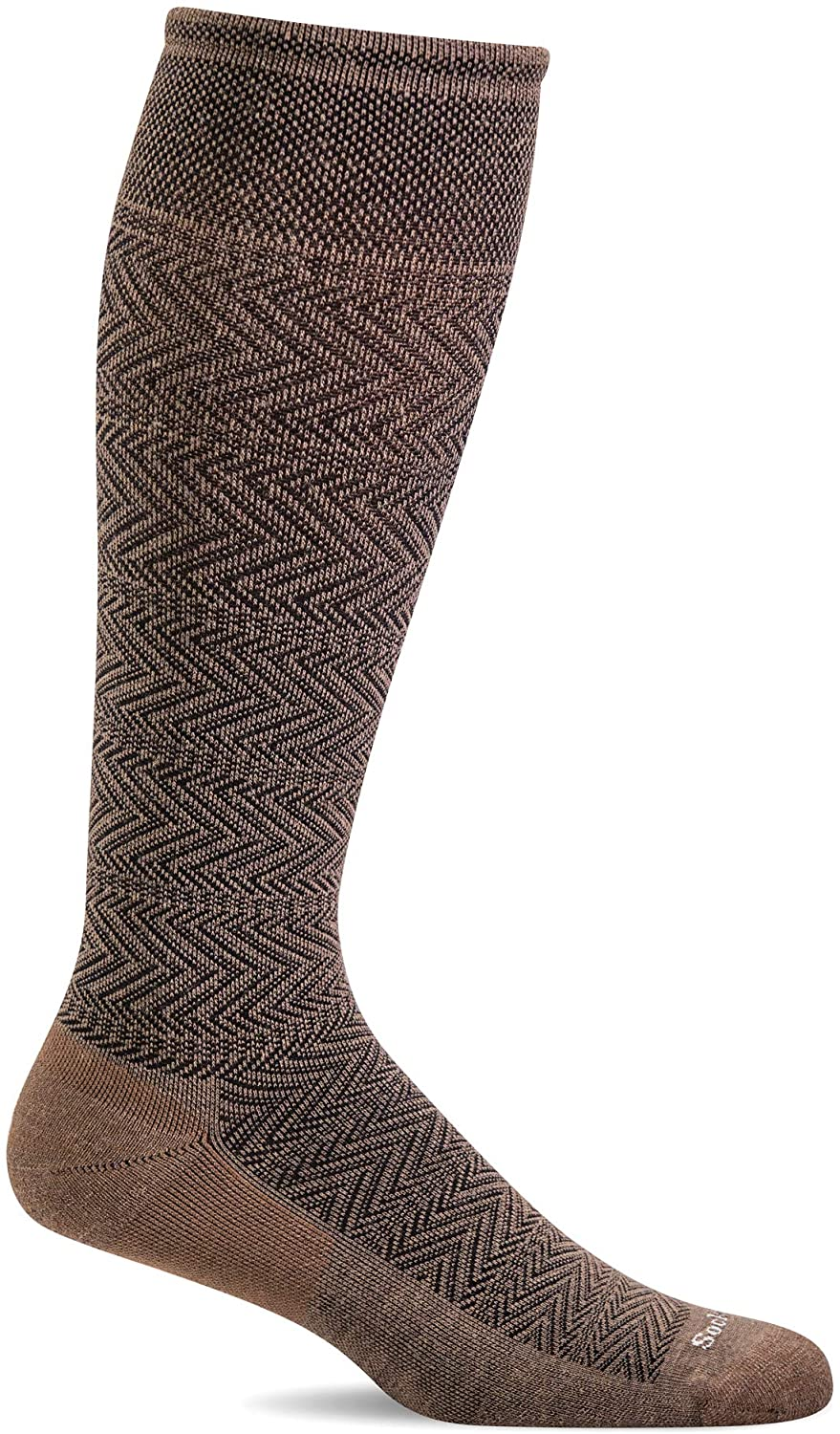Sockwell Men's Chevron Twill Firm Graduated Compression Sock in Bark from the side