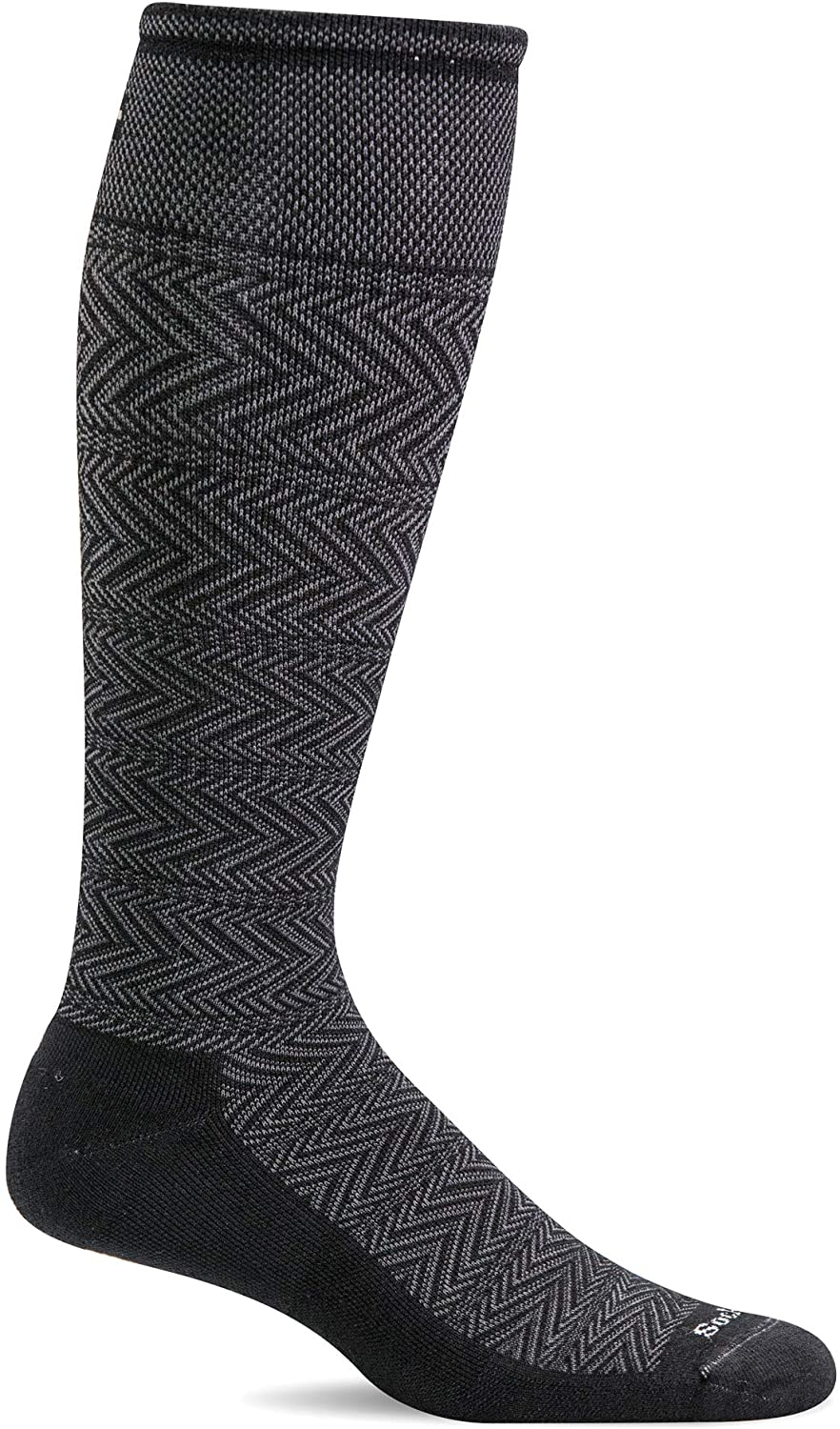 Sockwell Men's Chevron Twill Firm Graduated Compression Sock in Black from the side