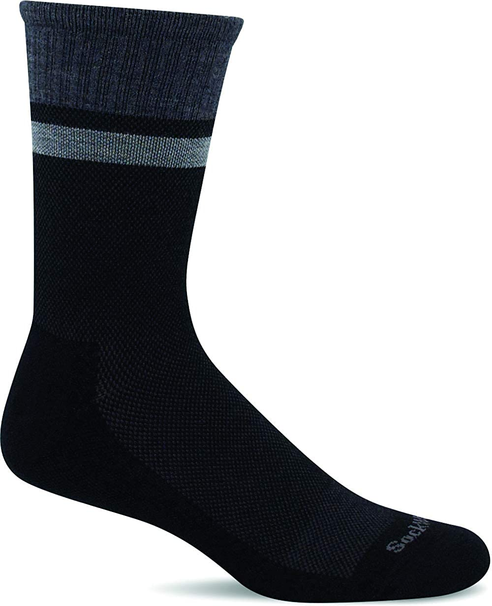 Sockwell Men's Foothold Crew Moderate Graduated Compression Sock in Black from the side