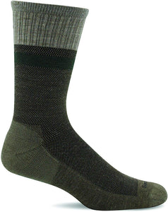 Sockwell Men's Foothold Crew Moderate Graduated Compression Sock in Khaki from the side