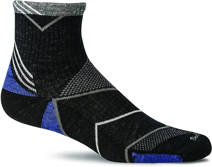 Sockwell Men's Incline Quarter Moderate Compression Sock in Black from the side