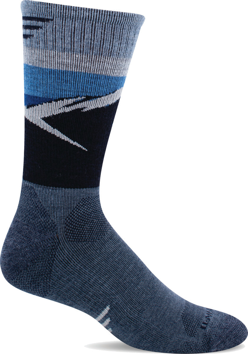 Men's Sockwell Modern Mountain Crew Moderate Compression Sock in Denim from the front view