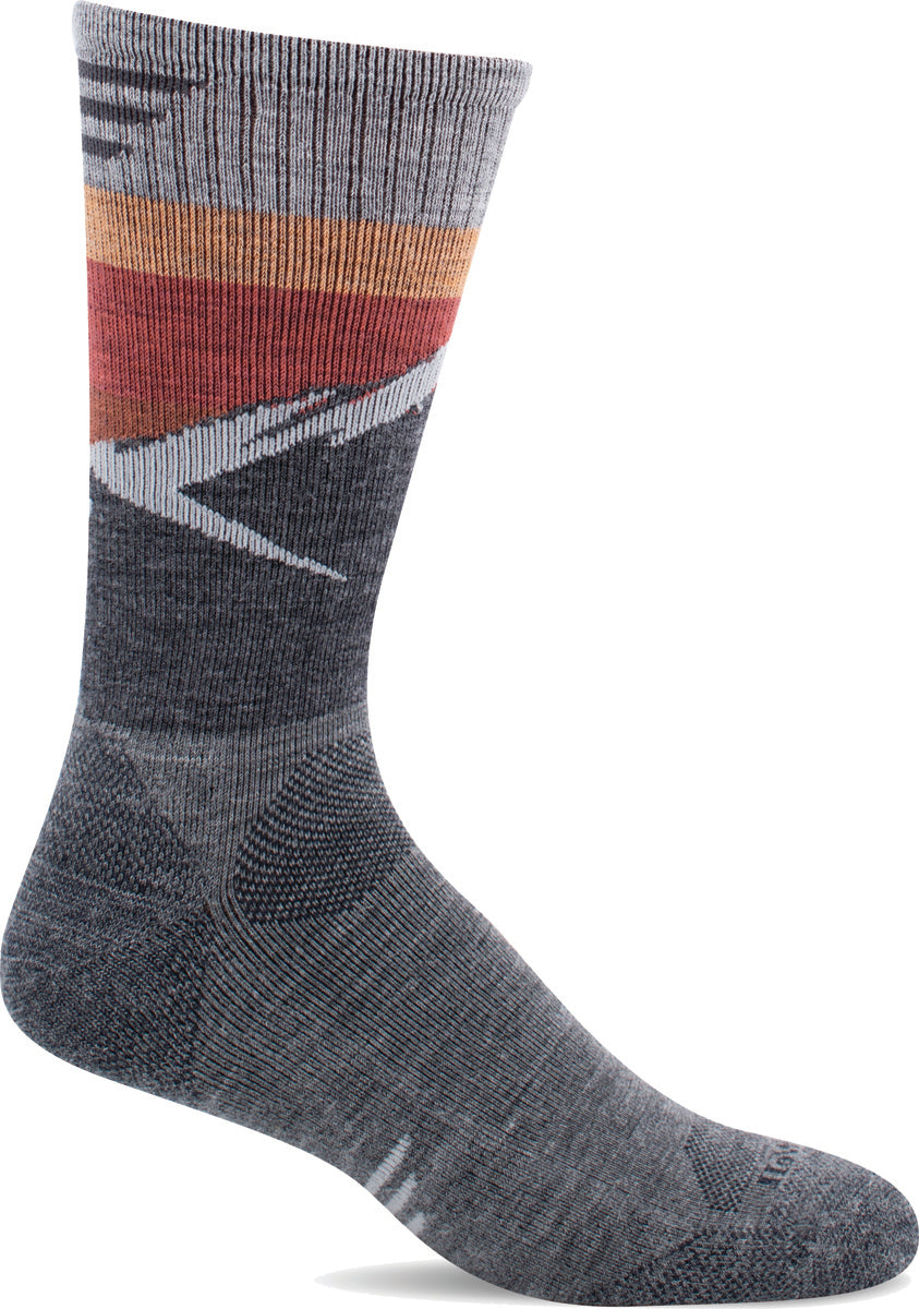 Men's Sockwell Modern Mountain Crew Moderate Compression Sock in Grey from the front view