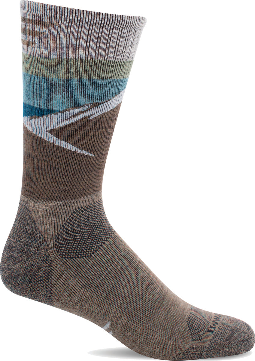 Men's Sockwell Modern Mountain Crew Moderate Compression Sock in Khaki from the front view