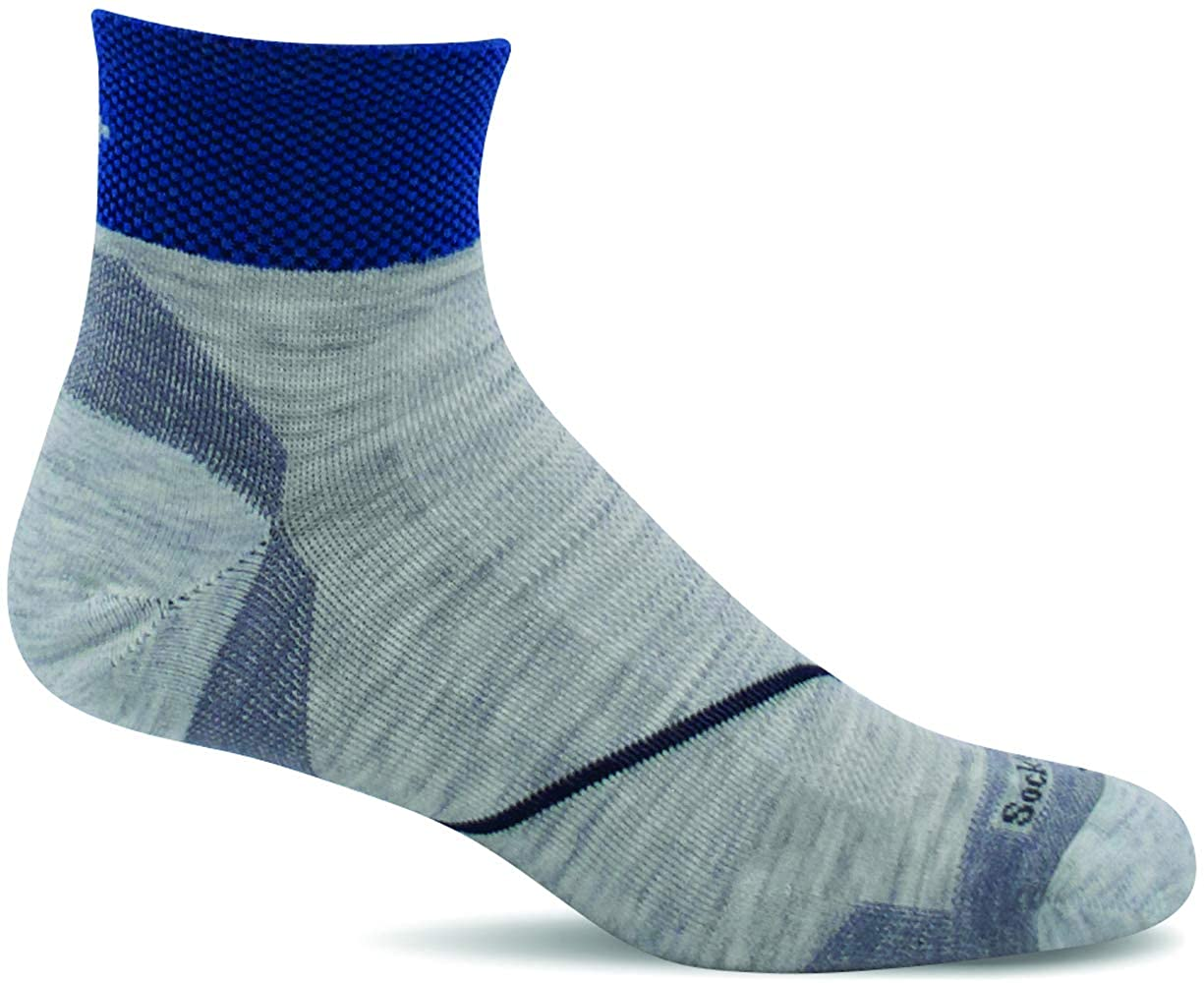 Sockwell Men's Pulse Quarter Firm Compression Sock in Ash from the side
