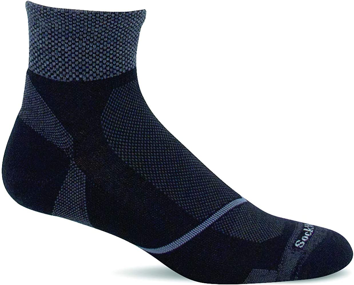 Sockwell Men's Pulse Quarter Firm Compression Sock in Black from the side