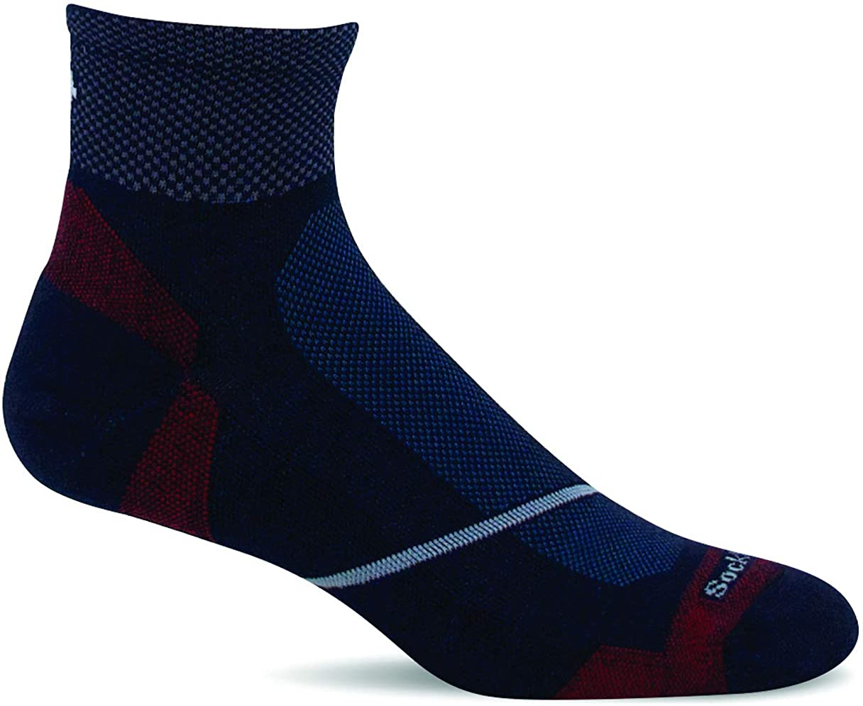 Sockwell Men's Pulse Quarter Firm Compression Sock in Navy from the side