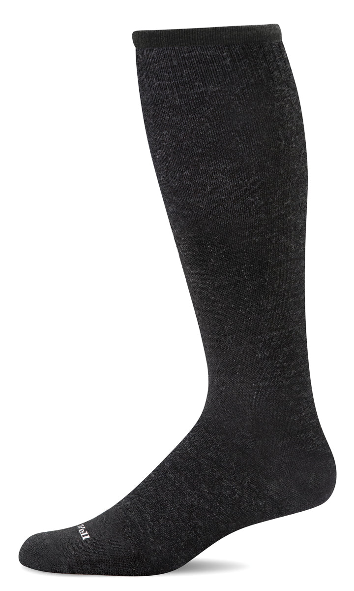 Men's Sockwell Ski Medium Compression Sock in Black from the front view